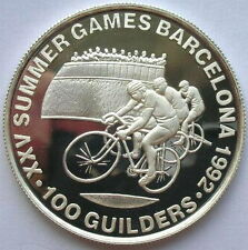 Suriname 1992 Cyclist 100 Guilde Silver Coin,Proof
