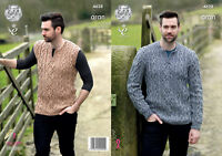 King Cole Mens Knitting Pattern Cable Detail Jumper & Slipover Fashion Aran 4628