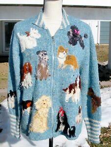 Design Options Super Cute Dogs Sweater EUC L Bulldog Corgi Pug Beagle Poodle