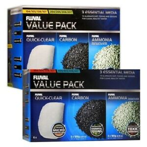 Fluval External Filter Media Kit, Carbon Ammonia 105/106 205/206 305/306 405/406