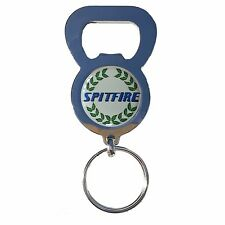 SPITFIRE CAR CREST BEER DRINK BOTTLE CAP OPENER CHROME KEYRING