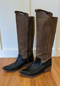 FREE PEOPLE Sz38 Tritone Leather Tall Woven Braided Western Boots Women's Size 8