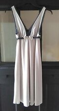 Free People Sz XS Sleeveless-Empire Waist-Pale Gray with Navy Lace Trim & Tie