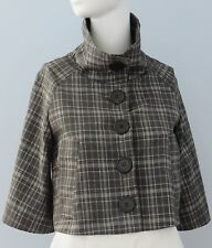 GUESS Size XS Gray 3/4 Raglan Sleeves Plaid 3-Button Collared Fully Lined Blazer