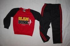Boys Outfit Sweatshirt & Sweat Pants Red Black Slam Dunk Basketball Size 4