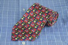 Michelsons Of London Homme Cravate Rouge & Marine Imprimé Floral Soie 55 X 3.75