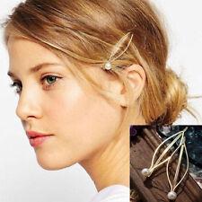 Women Jewelry 2PCS Pearl Leaf Metal Hair Clip Hairband Comb Bobby Pin Barrette