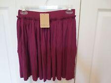 Mustard Seed Fashionable Burgundy Pleated Mini Skirt Size L