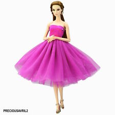 New Barbie doll clothes outfit short skirt dress evening PURPLE cocktail dress.