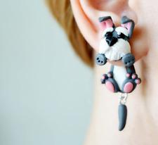 Dog schnauzer earrings animal two part earrings front back earrings clinging