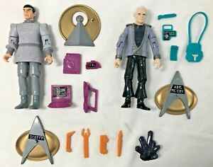 Lot 3 1993 Star Trek TNG action figures w/ accessories McCoy Spock Scotty extras