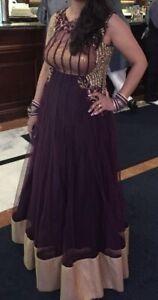 Indian Pakistani Wedding Party Wear Lehnga Maxi Dress Purple/ Gold size M/ 12
