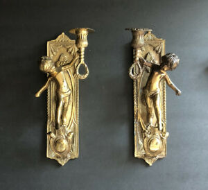 """Vintage Pair Heavy Solid Brass Cherub Candle Holder Wall Sconces 11.5"""" Tall"""