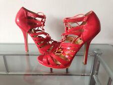 Asos Red Snake Print High Heel Sexy Lace Shoes UK5, EU38