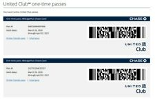 2 lot United Club One Time Pass EXP July 31, 2021