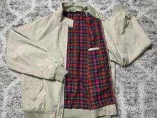 Vintage IZOD Lacoste Jacket Beige Tan Khaki Lightweight Plaid Lined Mens M Long
