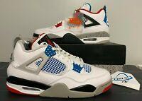 "Nike Air Jordan Retro 4 ""What The"" Multi-Color Blue Red Cement CI1184-146"