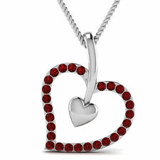 0.30 CT Round Cut Red Ruby Heart Pendant With Chain In 10K White Gold