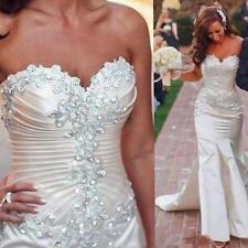 2018 New Fashion Sweetheart Mermaid Satin White Bride Gown Wedding Dress