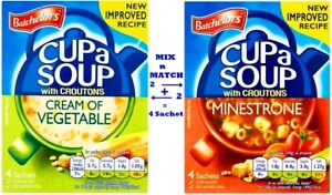 4 x Sachet Cup a Soup Minestrone with Croutons Vegetable Soup Vegetarians Ready