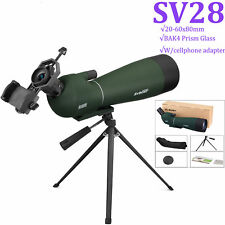 SV28 20-60x80mm BAK4 Prism Refractor Angled Zoom Spotting Scope for Birdwatching