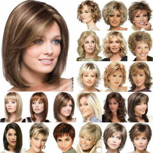 Natural Women's Short Curly Wig Ombre Blonde Lace Front Bob Europe Wavy Hair Wig