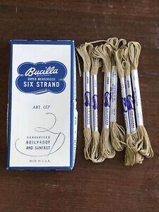 7 Skeins NEW Vintage BUCILLA Super Mercerized SIX-Strand COTTON  8yd #2464 Beige
