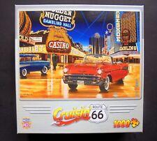 """MASTERPIECES CRUISIN' ROUTE 66 1000 PC PUZZLE CASINO CLASSIC CARS #71516 """"LOOK"""""""