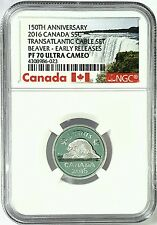 2016 Canada 5 cents Transatlantic Cable Set Beaver PF70 Nickel Ultra Cameo