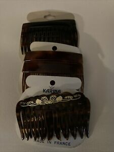 Vintage Lot of 3 Pair (6) Faux Tortoise Shell Hair Combs France Karina