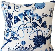 "Josef Frank Fabric Cushion Cover La Plata Blue Floral Linen Fabric Square 18"""