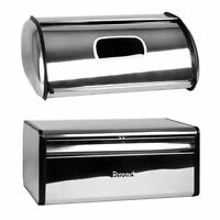 Silver Bread Bin Steel Kitchen Food Storage Box Loaf Roll Bins By Home Discount