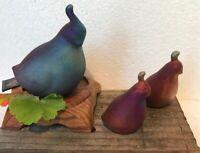 Art Pottery Raku Handcrafted-Signed-Quail Family Figurines-3 pieces