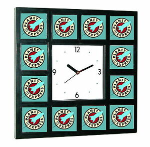 Futurama Planet Express Clock promo around the Clock with 12 surrounding images