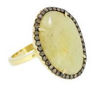 14K Yellow Gold Women's Natural Diamond Ring W/ Cream Sapphire Slice 8.21 Carat