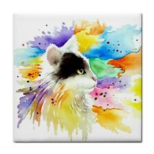 Large Ceramic Tile 6x6 Home Decor Cat 605 art painting by L.Dumas