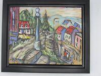 GILLES SIMARD Original Colorful Painting Quebec City Canada Signed