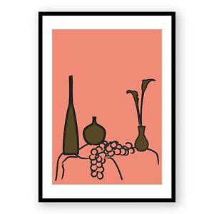Fruit Illustration Framed Print , Flowers Wall Art , Minimalist Boho Room Decor