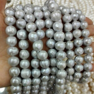 """1pcs 10-11MM Gray Baroque Pearl Beads Chain 15.5"""" Natural Luxury elegant Real"""
