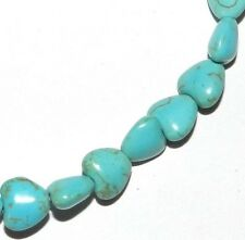 NG1920f Blue-Green Turquoise 8mm Flat Puffed Heart Magnesite Gemstone Beads 15""