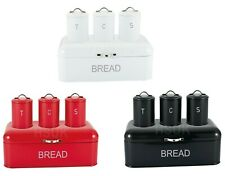 Royal Cuisine Tea Coffee Sugar Jars Canisters & Bread Bin Set Red White OR Black