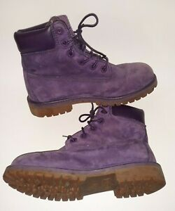 AUTHENTIC TIMBERLAND A14T3 PURPLE LEATHER ANKLE 6-INCH BOOTS GIRLS YOUTH SIZE 4