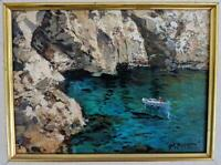 RAIMONDO ROBERTI b.1947 Oil Painting On Canvas ITALIAN COASTLINE - AMALFI COAST