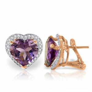 14K Rose Gold Heart Amethyst Diamond Earrings (6.48 ct)