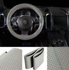 38cm/15'' Universal Car Steering Wheel Cover +Needle Thread Genuine Leather Gray