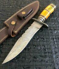 "SUPERB 12.2"" HANDMADE BEAUTIFUL DAMASCUS STEEL HUNTING BOWIE KNIFE W/SHEATH(6-1"