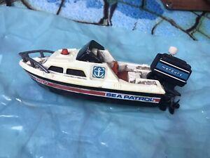 Vintage 1978 Tomy Sea Patrol Wind Up Toy Boat w/ Working Mercury Outboard Motor