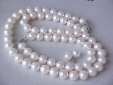 9-10MM REAL SOUTH SEA WHITE PEARL NECKLACE+ BRACELET +EARRING 14k WHITE GOLD