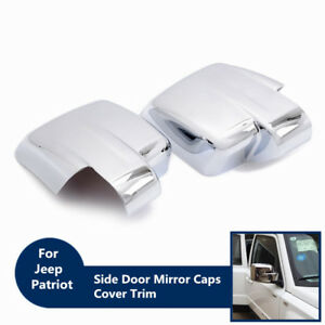 2PC Chrome Side Door Mirror Caps Rearview Cover Trim For Jeep Patriot 2007-2017