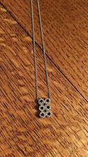 "14 kt White Gold Diamond Six Sapphire Rectangular Pendant on 20"" Chain"